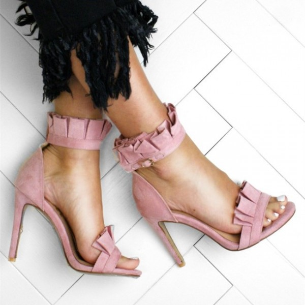 798bcb3c230f ... Pink Suede Ankle Strap Sandals Open Toe Stiletto Heel Ruffle Sandals  image 5 ...