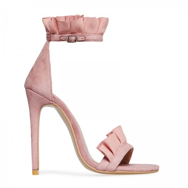 Pink Suede Ankle Strap Sandals Open Toe Stiletto Heel Ruffle Sandals image 6