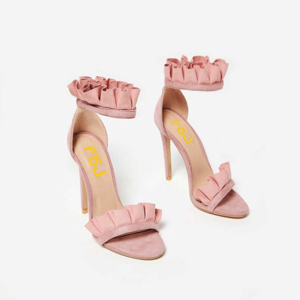 Pink Stiletto Heels Dress Shoes Ankle Strap Suede Ruffle Sandals image 8