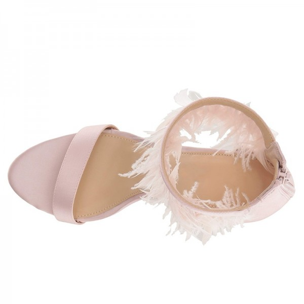 Pink Satin Ankle Strap Heels Feather Sandals image 2
