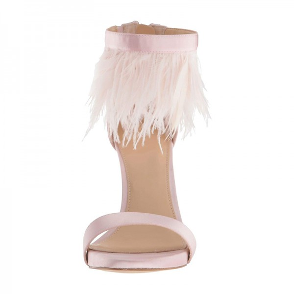 Pink Satin Ankle Strap Heels Feather Sandals image 3