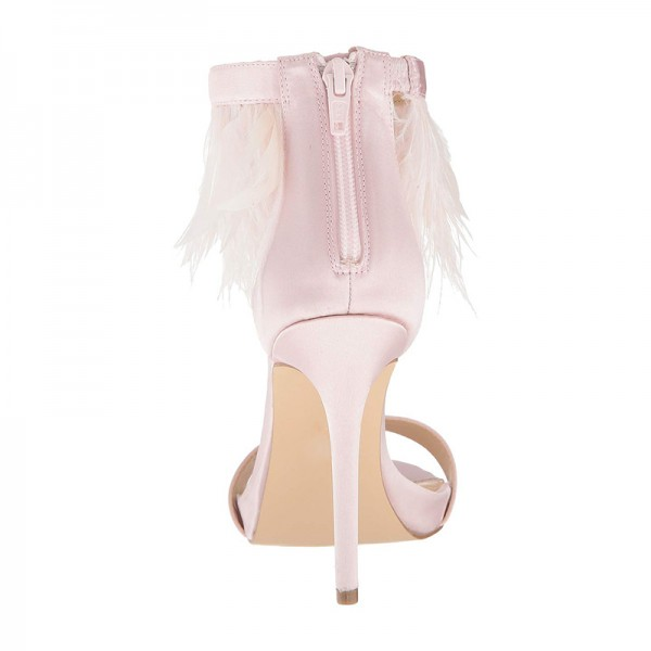 Pink Satin Ankle Strap Heels Feather Sandals image 4