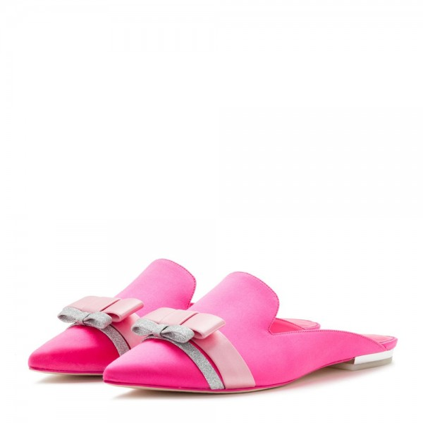 Pink Satin bow Flat Loafer Mules image 1
