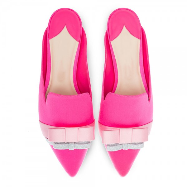 Pink Satin bow Flat Loafer Mules image 3