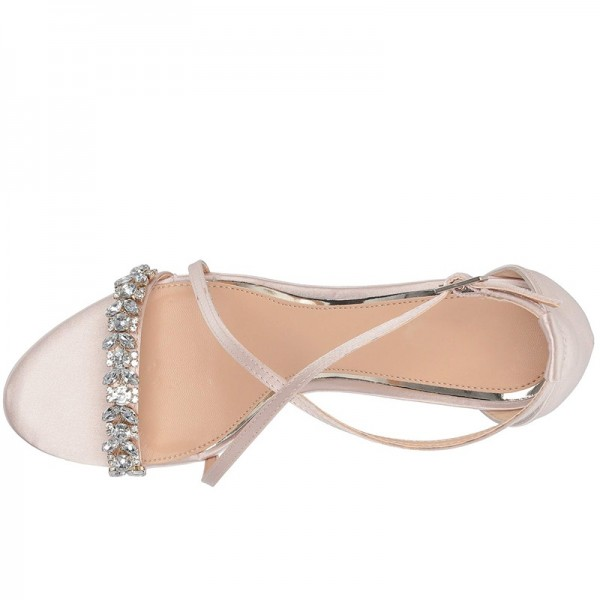Rhinestone Embellished Satin Crisscross Wedding Wedges in Pink image 2