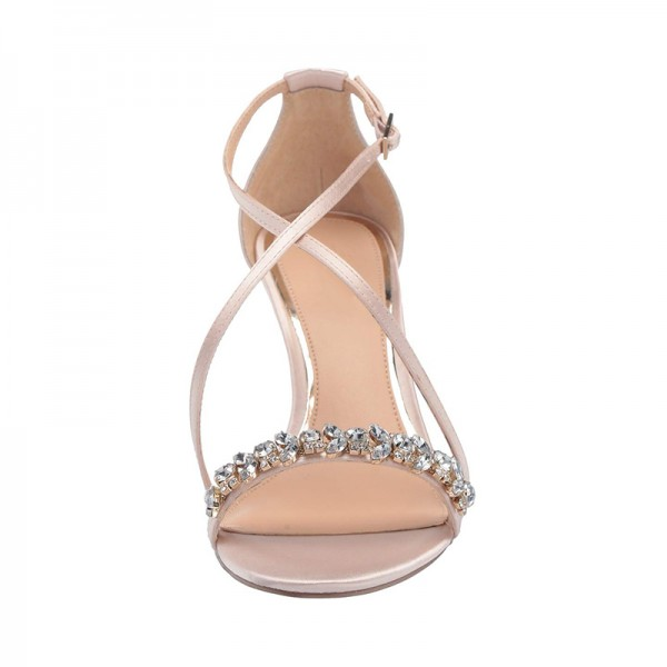 2019 Rhinestone Embellished Satin Crisscross Wedding Wedges in Pink image 3