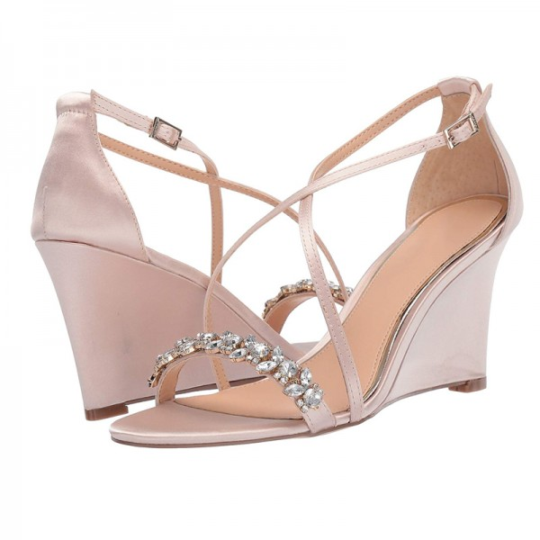 2019 Rhinestone Embellished Satin Crisscross Wedding Wedges in Pink image 1