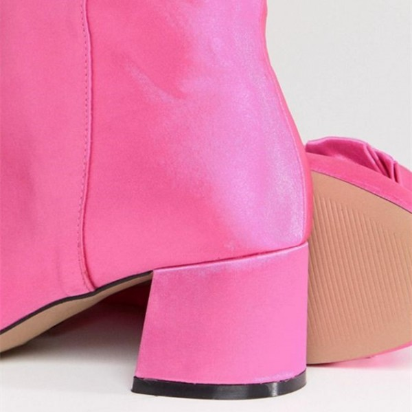 Women's Coral Bowknot Chunky heel Boots Fashion Suede Ankle Boots image 2
