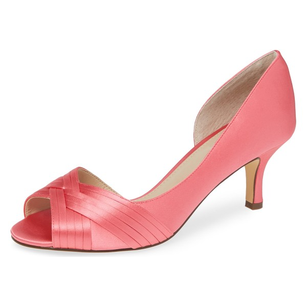 Pink Satin Peep Toe Kitten Heel D'orsay Wedding Shoes image 1