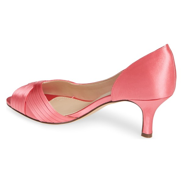 Pink Satin Peep Toe Kitten Heel D'orsay Wedding Shoes image 4
