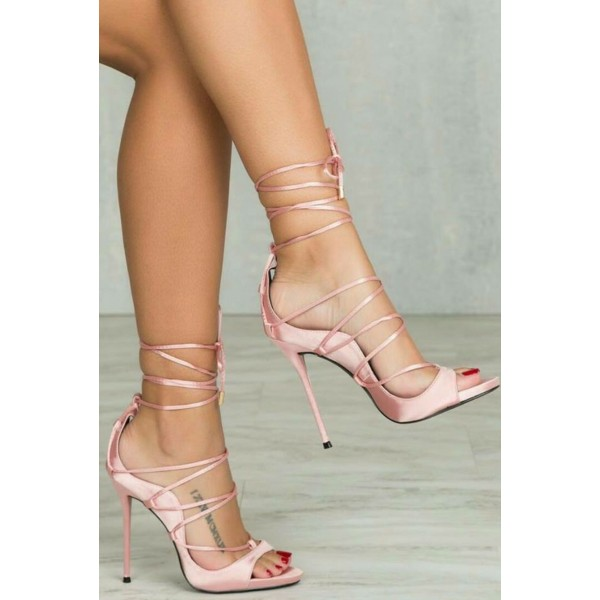 Pink Strappy Heels Sandals Open Toe Stiletto Heels Pumps for Women image 2