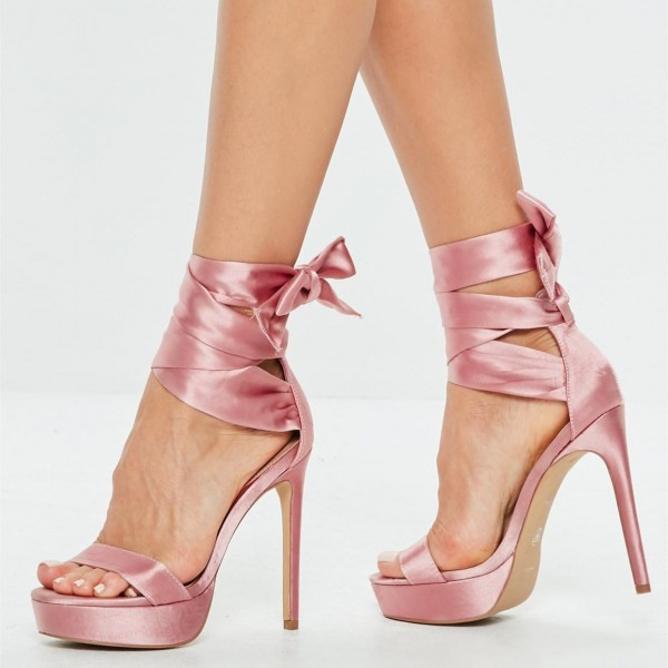 Pink Satin Strappy Stiletto Heel Platform Sandals image 1