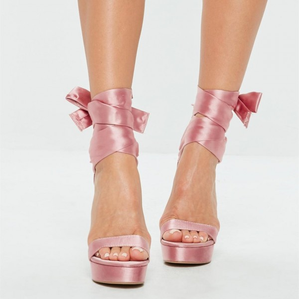 Pink Satin Strappy Stiletto Heel Platform Sandals image 2