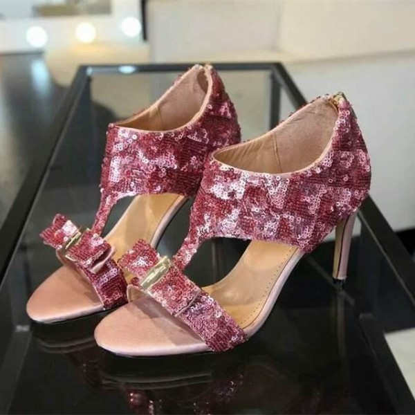 Pink Sequined Bow Open Toe Stiletto Heels T-strap Sandals image 1