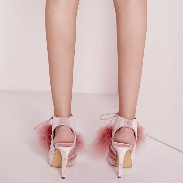Pink Peep Toe Booties Lace up Slingback Shoes Velvet Boots image 3