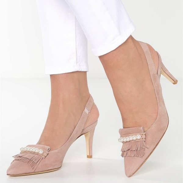 Pink Fringe Slingback Pumps Pointed Toe Pearls Stiletto Heels image 1
