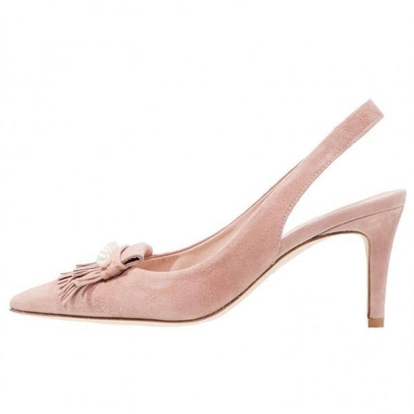 Pink Fringe Slingback Pumps Pointed Toe Pearls Stiletto Heels image 2
