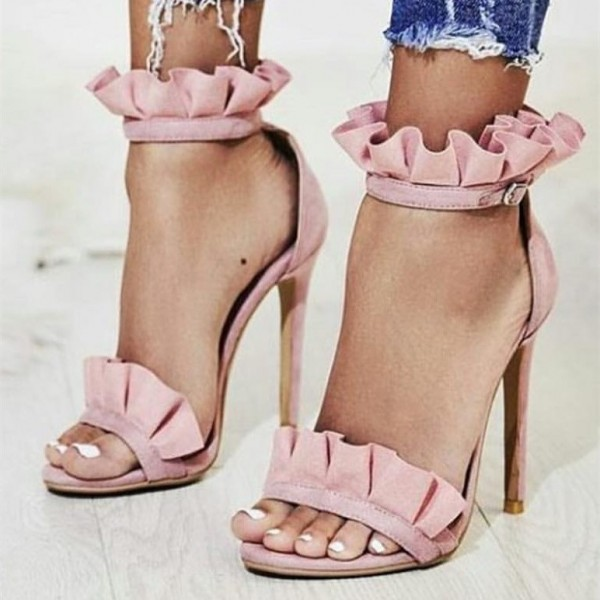 0d9c7486f61bc Pink Suede Ankle Strap Sandals Open Toe Stiletto Heel Ruffle Sandals image  1 ...