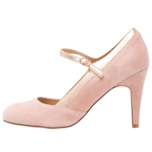 Pink Mary Jane Shoes Round Toe Pumps for Office Lady image 2
