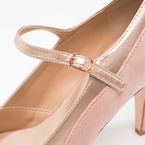 Pink Mary Jane Shoes Round Toe Pumps for Office Lady image 3