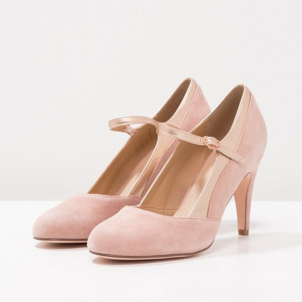 Pink Mary Jane Shoes Round Toe Pumps for Office Lady image 1
