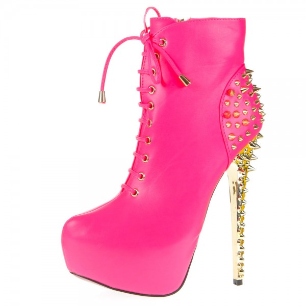Pink Stiletto Heels Stripper Shoes Rivets Platform Heel Ankle Booties image 1