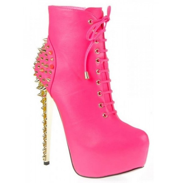 Pink Stiletto Heels Stripper Shoes Rivets Platform Heel Ankle Booties image 3