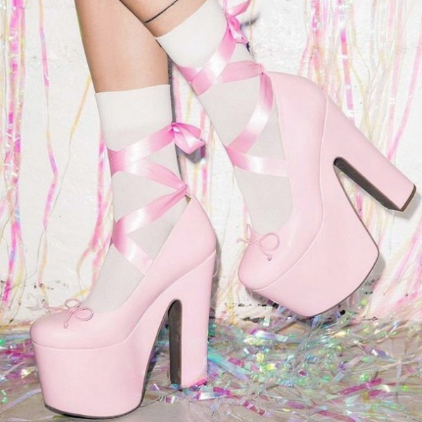 Pink Stripper Heels Lace up Chunky Heel Pumps with Platform image 5