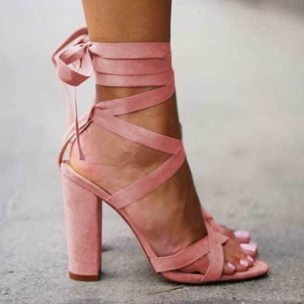 Pink Strappy Sandals Lace-up Suede Block Heels for Women image 2