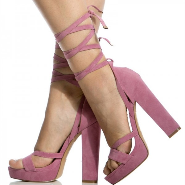 Women's Pink Open Toe Suede Chunky Heel Ankle Straps Sandals image 3