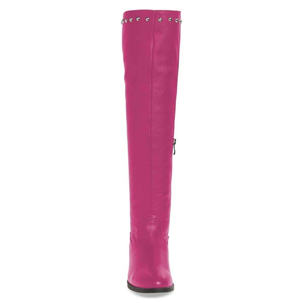 Orchid Studs Round Toe Flat Long Boots Knee High Boots image 2