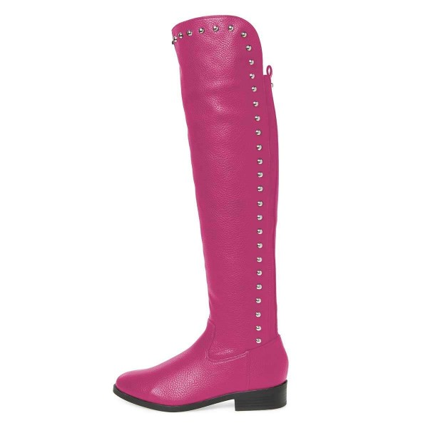 Orchid Studs Round Toe Flat Long Boots Knee High Boots image 3