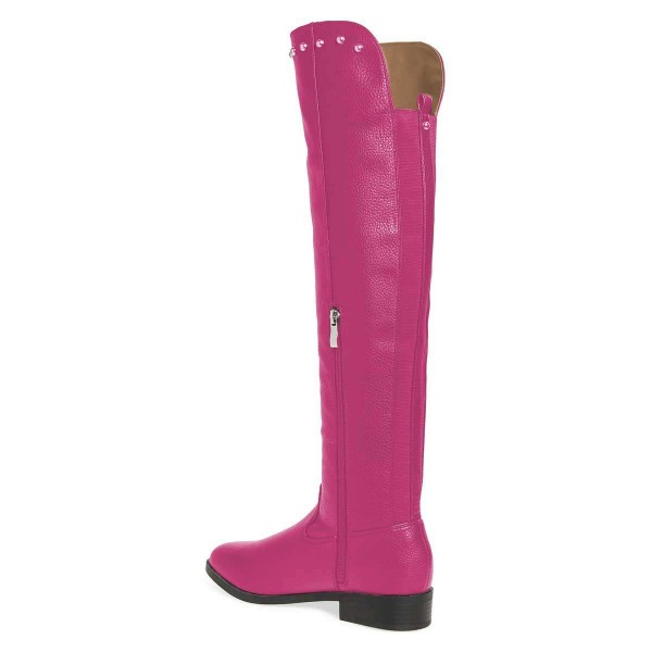 Orchid Studs Round Toe Flat Long Boots Knee High Boots image 4