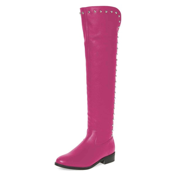 Orchid Studs Round Toe Flat Long Boots Knee High Boots image 1