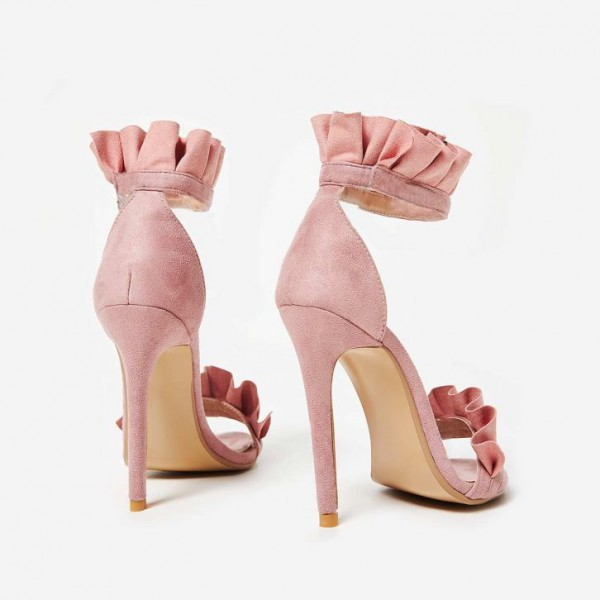Pink Suede Ankle Strap Sandals Open Toe Stiletto Heel Ruffle Sandals image 7