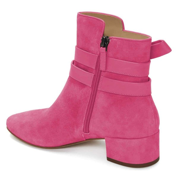 Pink Suede Boots Bow Chunky Heel Ankle Boots image 3