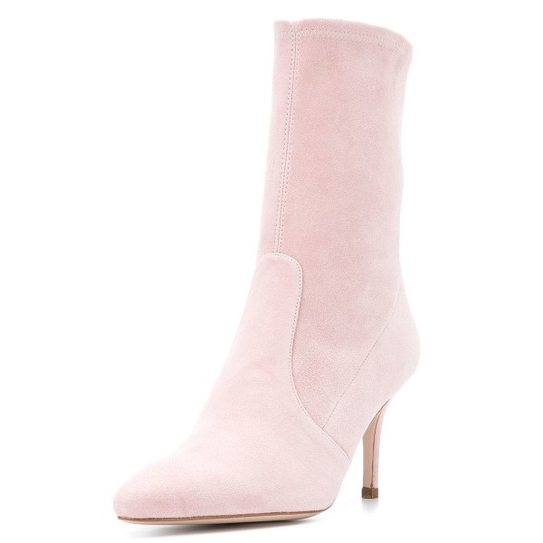 Pink Suede Fashion Boots Pointy Toe Stiletto Heel Ankle Boots image 1