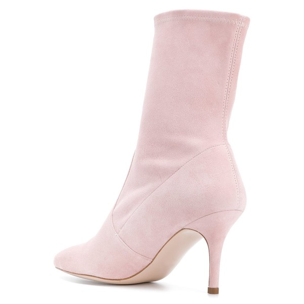 Pink Suede Fashion Boots Pointy Toe Stiletto Heel Ankle Boots image 4