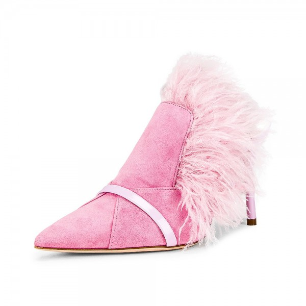 Pink Suede Feather Mule Heels Pumps image 1