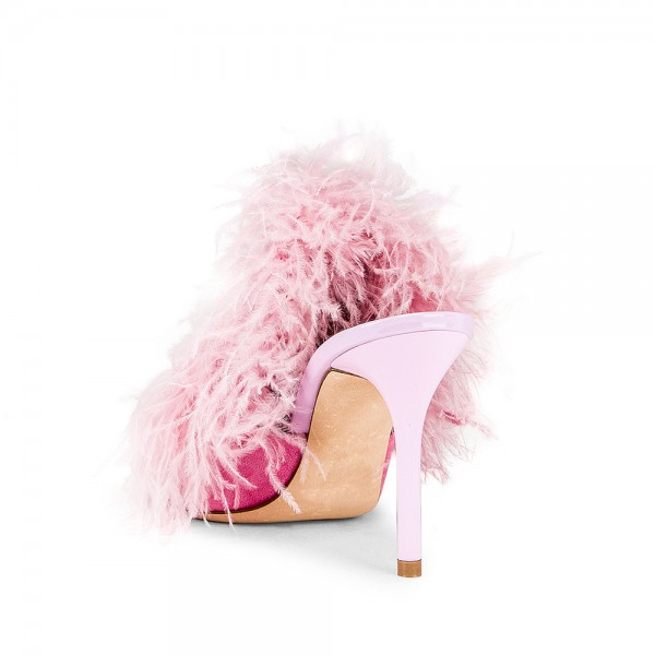 Pink Suede Feather Mule Heels Pumps image 2