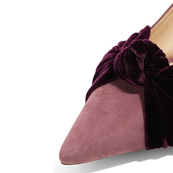 Pink Suede Knot Pointy Toe Kitten Heels Pumps image 3