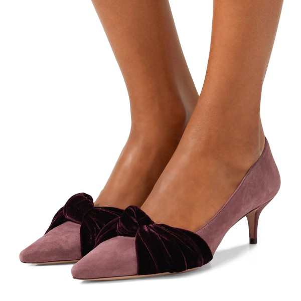 Pink Suede Knot Pointy Toe Kitten Heels Pumps image 1