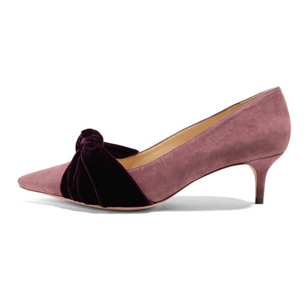 Pink Suede Knot Pointy Toe Kitten Heels Pumps image 2