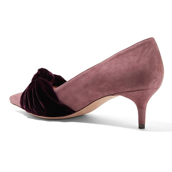Pink Suede Knot Pointy Toe Kitten Heels Pumps image 4