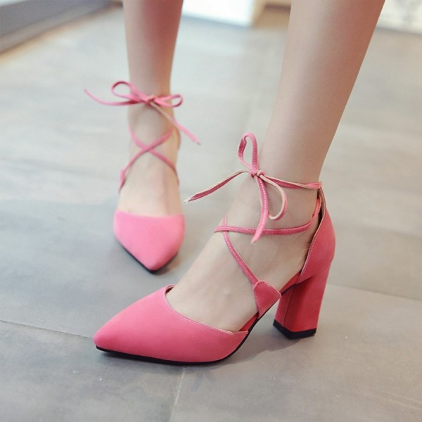 Pink Lace up Heels Suede Chunky Heel Closed Toe Sandals image 3