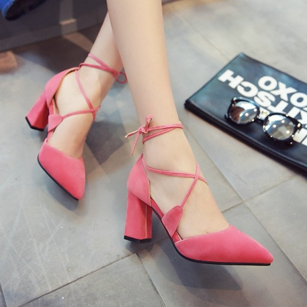 Pink Lace up Heels Suede Chunky Heel Closed Toe Sandals image 4