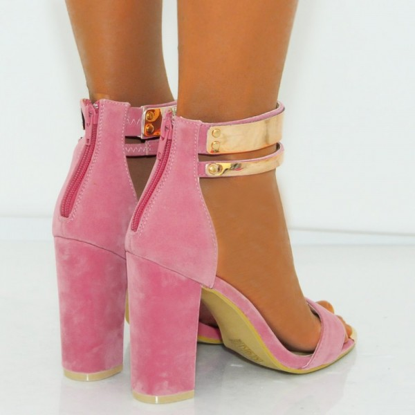 Women's Pink Metal Chains Ankle Strap Sandals Chunky Heels image 3