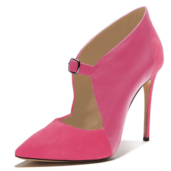 Pink Suede Pointy Toe Buckle Stiletto