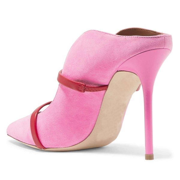 Pink Suede Pointy Toe Stiletto Gold Straps Heel Mules Pumps image 3