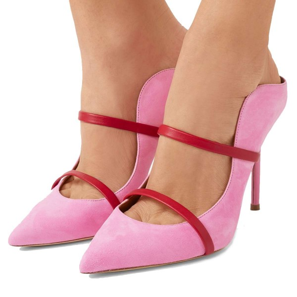 Pink Suede Pointy Toe Stiletto Gold Straps Heel Mules Pumps image 1
